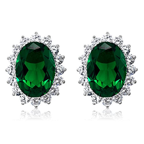 Gem Stone King 925 Sterling Silver Blue Simulated Sapphire or Green Simulated Emerald Halo Earrings (15.00 Ct Oval 14X10MM)