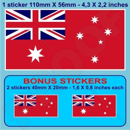 Marchand Australie Red Ensign Drapeau australien 109,2 cm (110 mm) en vinyle Bumper Sticker, autocollant x1 + 2 Bonus