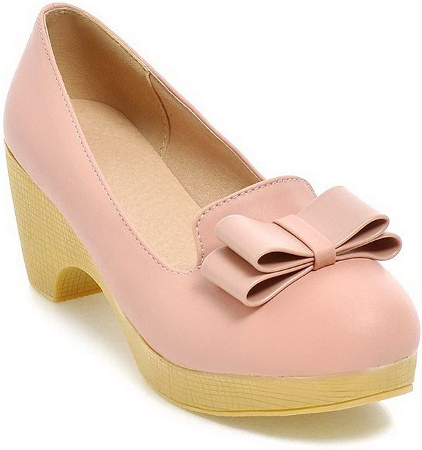 AmoonyFashion Women's Pull-on Round Closed Toe Kitten-Heels PU Solid Pumps-shoes