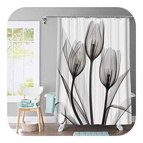 Hylshan Juego de cortinas de ducha con diseño de tulipán, diseño de árboles y flores, antideslizante, cubierta de tapa de inodoro y alfombrilla de baño, cortinas de baño impermeables