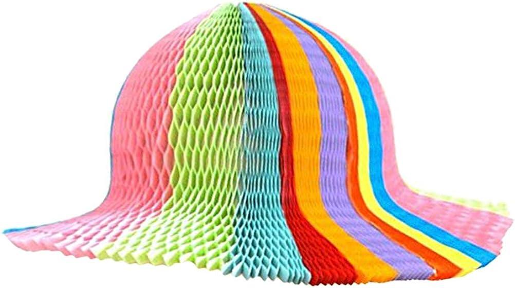Portland Mall FENICAL 5Pcs Rainbow Color Honeycomb Origami Hats Choice Sun Paper Fold