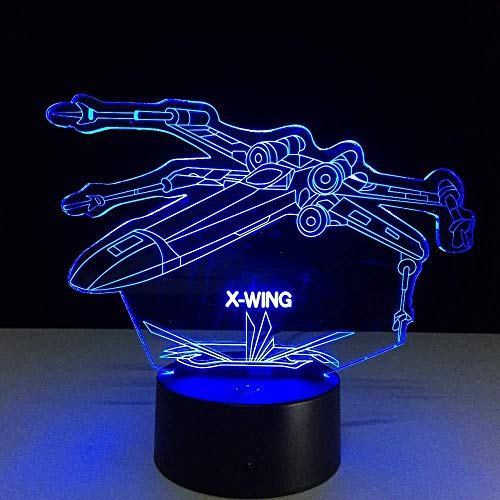 TIANXIAWUDI X-Wing Fighter 3D Desk Lamp Night Light Night Light USB Touch 7 Color Gradient Night Light Night Light Party Drop Ship