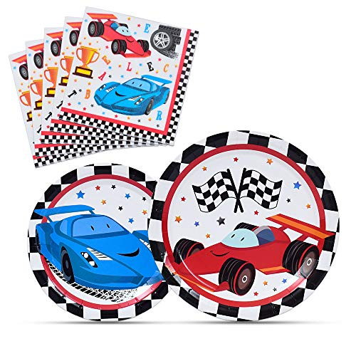 WERNNSAI Racing Car Party Supplies for Boys - Checked Race Car Plates and Napkins Disposable Paper Luncheon Dinner Dessert Cake Plates Tableware Kit 48 PCS Serves 16 Guests