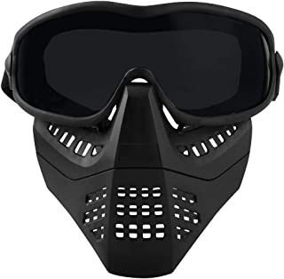 H World Shopping Airsoft Tactical Paintball Face Mask with Goggles Black (BK)
