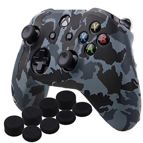 YoRHa Wassertransferdruck Silikon Hülle Abdeckungs Haut Kasten für Microsoft Xbox One X & Xbox One S controller x 1 (Schnee) Mit PRO aufsätze thumb grips x 8