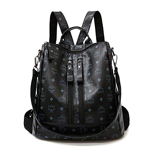 Damen Rucksack Damen PU Leder Rucksack Mode Druck Mobile Anti-Diebstahl-Schulter Messenger Bag Mode lässig Rucksack Handtasche (Color : Black, Size : 31x29x15cm)