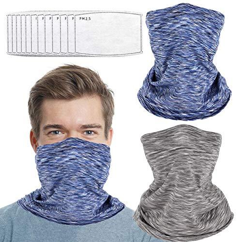 2 PCS Face Mask Neck Gaiter with Filter for Men Women Face Bandana Magic Scarf Headwrap Balaclava