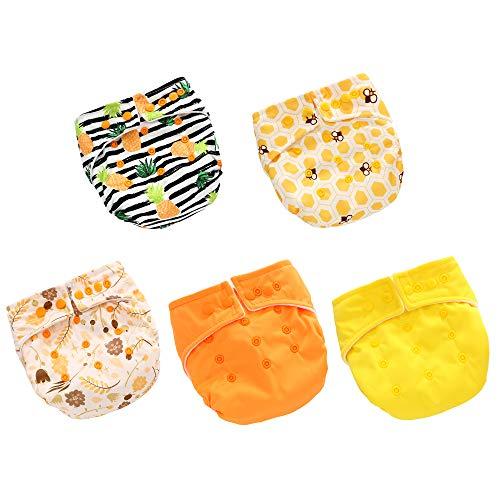 5 Pcs Pañales Lavables de Tela para Bebé, Pañales Ajustable y Reutilizable para Bebés
