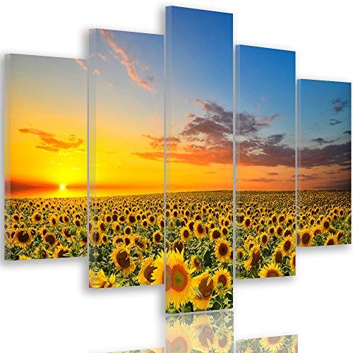 Feeby Frames Quadro Multipannello 5 Pannelli Stampa Artistica Canvas Tipo A 150x100 cm Fiori Girasole Cielo Natura Paesaggio