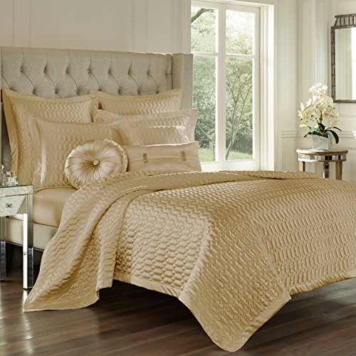 Five Queens Court Saranda Satin Geometric Quilted Coverlet Full/Queen, Gold