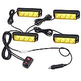 4XLED Luces Estroboscópicas de Ámbar Luces de Faro para Advertencia FLASH para los Vehiculos con el Cargador Luces Impermeables de Emergencia Intermitente 12V 24V para Camión Remolque Caravana