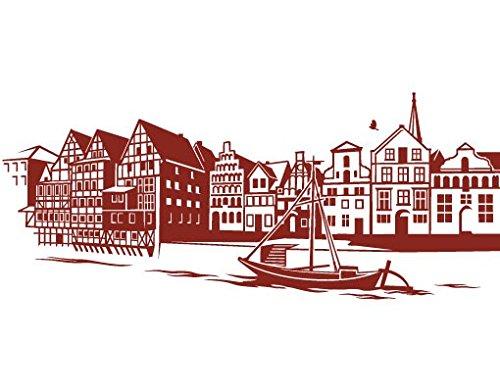 mantiburi Wand Aufkleber No. FB83Lüneburg Skyline, Farbe: Grau; Maße: 71cm x 300cm