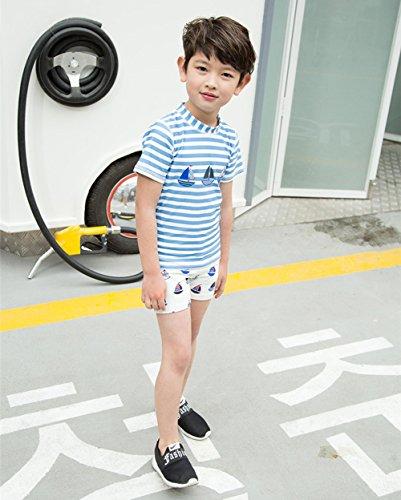 『Emfay 子供 男の子 水着 半袖 ボーダー柄 上下セット キャップ付き ラッシュガード スイムウェア 紫外線 UVカット 3T』の3枚目の画像