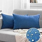 Set di 2 federe impermeabili per cuscino da giardino, impermeabile, per portico, cortile, divano, divano, in cotone e lino, decorazione per la casa, 30 x 50 cm, colore: blu navy