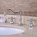 Taps Modern Bathroom Sink Faucet - Pre-Flush/Waterfall/Wide Two-Handle Three-Hole Bath Faucet Water