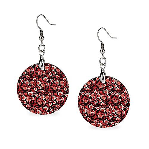 Pendientes de madera de verano de moda, pendientes de gota ligeros, redondos, para mujeres y niñas, elegante, diseño floral negro rojo y marfil