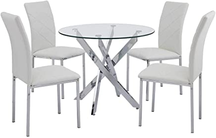 80x71cm Bon/_shop Modern Dining Room Round Clear Glass Table Kitchen Table