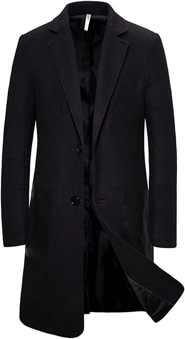 Men Overcoat Winter Single Breasted Jacket Fashion Solid Color Trench Coat Long Sleeve Woolen Blend Outwear Windbreaker