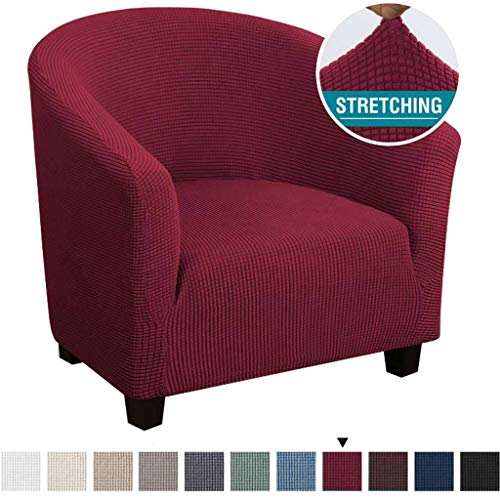 HUANXA Sesselhusse,Sesselüberwurf Sesselhusse Sesselbezug Jacquard Elastisch Stretch Sofahusse Husse Für Clubsessel Loungesessel Cocktailsessel-Rotwein