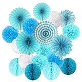 Cocodeko Juego para colgar, pompones de papel de seda, abanico y bolas de panal, para cumpleaños, baby shower, bodas, festivales, decoración, azul, 3 gramos