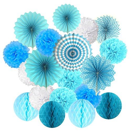 Cocodeko Hängeset aus Seidenpapier mit Blumenfächern und Wabenbällen für Geburtstag, Babyparty, Hochzeit, Festival, Dekoration, Blau, 3 g