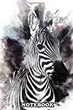 Notebook: Poster Of A Zebra With A Color Explosion In The Ba