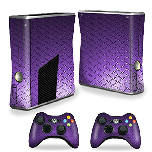 MightySkins Skin Compatible with X-Box 360 Xbox 360 S Console - Purple Diamond Plate | Protective, Durable, and Unique Vinyl wrap Cover | Easy to Apply, Remove, and Change Styles | Made in The USA