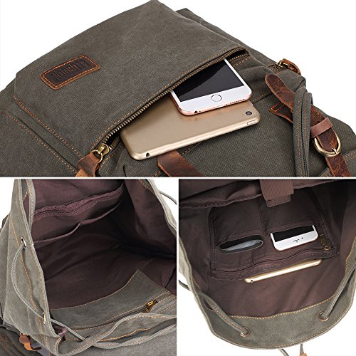 BLUBOON Canvas Vintage Backpack Leather Trim Casual Bookbag Men Women Laptop Travel Rucksack - green - 12 x 17.8 x 6.5 inches