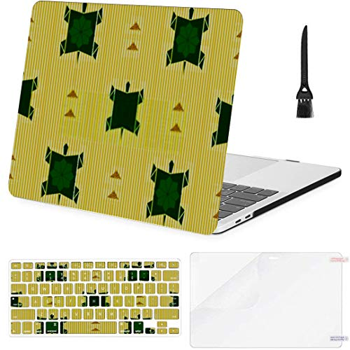 MacBook Pro 13 Inch Case Seamless Green Origami Turtle Gold Glitter MacBook Air 13 Inch Case with Keyboard Cover Screen Protector Cleaning Brush