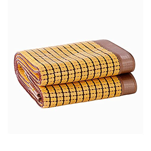 Koelmatras Opvouwbaar Verkoold Bamboe Mat Zomer Dubbel Rundvlees Peesrand Slaapkussen Airco Pads (Kleur : Goudgeel, Afmeting : 1.35x1.95m)