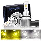 SUPAREE HB4 LEDフォグランプ 2色切り替え ホワイト(6000K)/イエロー(3000K) 車検対応 DC12-24V 24W 車用LEDバルブ 2個セット