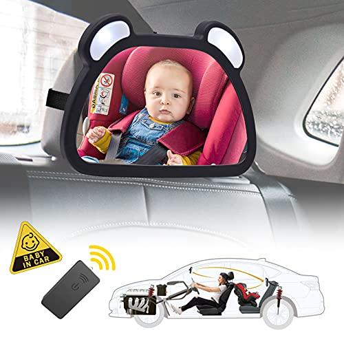 Espejo Retrovisor Coche Bebé LED, 360° Rotación Espejo Retrovisor Coche Bebé para Ver su Bebé en Asiento Trasero y Conduzca de forma segura-para los nuevos padres