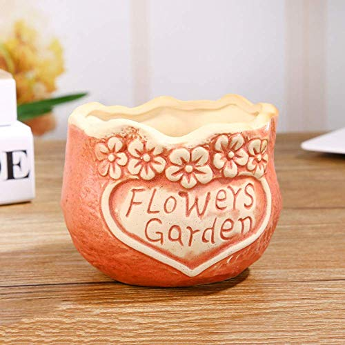 CHHD Plain Noodle Flower Planter Round Heart Shaped Flower Planter Ceramic Planter Home A Fresh Succulent Ceramic Planter for Succulent Plants Nursery Garden Planter Window Box Flower Trough Planter