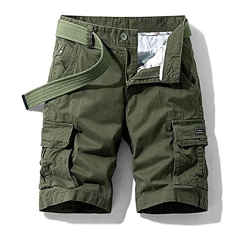 2021 Pantalones Casuales Sueltos para Hombres Pantalones Cortos microelásticos de algodón Monos de Cinco Puntos Pantalones de Playa de Tendencia Juvenil de Verano-Army_Green_28