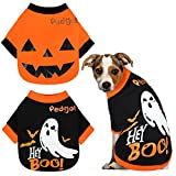 Pedgot 2 Pack Dog Halloween Shirt Soft Cotton Ghost Dog Shirt Halloween Cosplay Pet Apparel Funny Pet Costumes for Dogs Puppy Supplies, Small