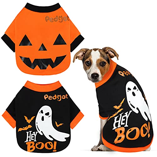 Pedgot 2 Pack Dog Halloween Shirt Soft Cotton Ghost Dog Shirt Halloween Cosplay Pet Apparel Funny...