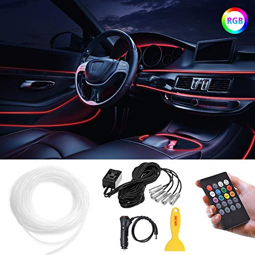 LEDCARE Car LED Strip Lights, Multicolor RGB Car Interior Lights, RF Remote controlled 5 in 1 Ambient Lighting Kits with 236 inches Fiber Optic and Sound Active Function