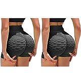 YUNIAO 2 Pack TIK Tok Leggings for Women Butt Lifting Yoga Pants Tummy Control Running Sport Tights High Waisted Sexy Shorts