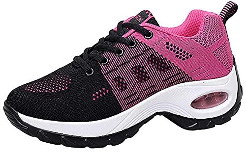 Sneakers Zeppa Donna Scarpe da Ginnastica Basse Corsa Sportive Fitness Running Mesh Air Scarpe Estive Primavera Casual All'Aperto Gym,Rosso,38 EU
