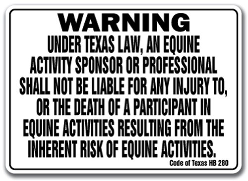 "TEXAS Equine Sign activity liability warning statute horse farm barn stable, 10"" x 14"" Rigid Plastic"