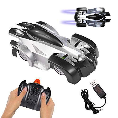 Remote Control Car, Gravity Defying 360 Degree Rotating Stunt RC Car with LED Light, Wall & Land Dual-Mode Toy Car for Kids. (Black)