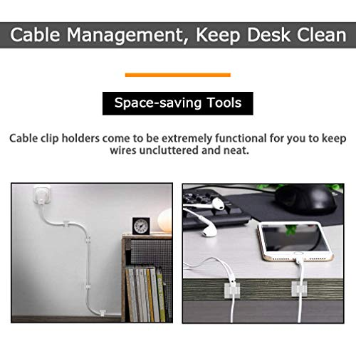 50 Pcs Viaky Wire Cord Clips Adhesive Cable Clips Cable Holder Wire Management, Worked Great for Fixing Your Various Wires, Network Cable, RV Wires, USB Cords, car Cable, TV Coax Cable(White)