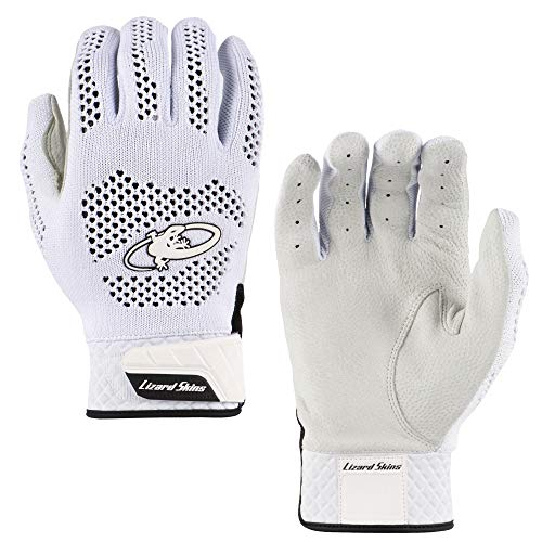 Lizard Skins Pro Knit 2.0 Baseball Batting Gloves - Adult Baseball Batting Gloves (White, Small)
