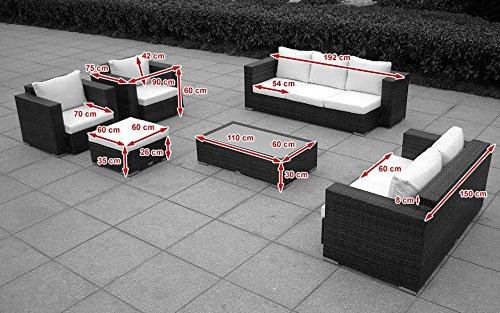 Baidani Gartenmöbel-Sets 10c00004.00002 Designer Lounge-Wohnlandschaft Daylight, 3-er Sofa, 2-er Sofa, 1 Hocker, 1 Couchtisch mit Glasplatte, 2 Sessel, Sitzauflagen, schwarz Bild 3*