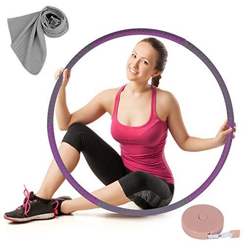 OOTO Hula Hoop Reifen Erwachsene, Hoola Hoop Reifen Erwachsene, Fitnessreifen Hullahub Reifen Abnehmbar 6 Segmente 1 bis 4 kg Verstellbar, mit Kühlendem Handtuch, Rosa Maßband
