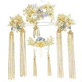 KUNQ-Im Chinesischen Stil Braut Show Kleid Kopfbedeckung Hochzeit Kopfbedeckung Classic Fransen Haar Accessoires -