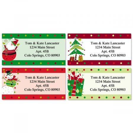 Fun Personalized Christmas Return Address Labels (4 Designs)- Set of 144, Large Self-Adhesive, Flat-Sheet Labels, by Colorful Images
