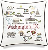 EURASIA DECOR Washington DC State Map 18x18 Embroidered Decorative Accent Pillow Cover - Birthday Decor, Graduation, New Home Gift
