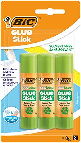 BIC ECOlutions Colle Stick, 8 gr, Confezione da 3, Ottime per i Lavori dei Bambini a Scuola e a Casa e per l'Art and Craft