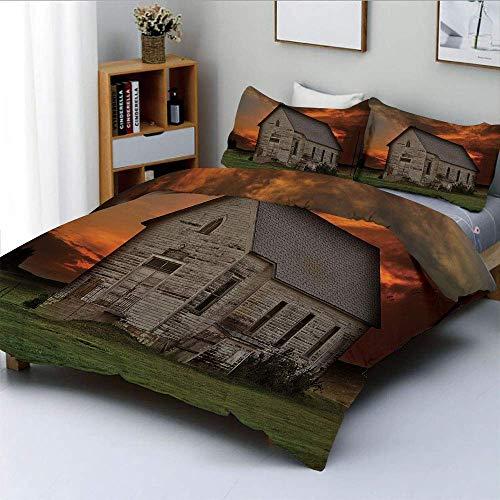 Juego de funda nórdica, edificio rústico de pradera en el oeste de Dakota del Sur, EE. UU., Casa de madera, pradera, juego de cama decorativo de 3 piezas con 2 fundas de almohada, naranja, verde, gris